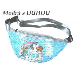 """""""Unicorn"""" Jednorožec módní dětská ledvinka s flitry DUHA"""